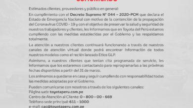 Photo of Toyota del Perú se encuentra acatando los protocolos de seguridad y recomienda a la población a quedarse en casa